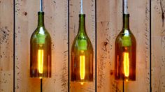 Wine Bottle Pendant Lights Set // Amber // Glass by BottleLit, $90.00