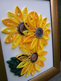 Quilled sunflowers for children. That was ok - Best Paper Quilling Designs Quilling Images, Paper Quilling Cards, Paper Quilling Flowers, Quilling Work, Paper Quilling Patterns, Origami And Quilling, Quilled Paper Art, Quilling Paper Craft, Paper Crafts
