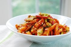 Ojingeo bokkeum is a spicy stir-fried squid. If you love squid and spicy food, this flavor packed dish is easy to make with a few Korean staple ingredients. Spicy Recipes, Seafood Recipes, Asian Recipes, Cooking Recipes, Squid Salad, Octopus Salad, Korean Side Dishes, Cold Dishes, Sour Taste