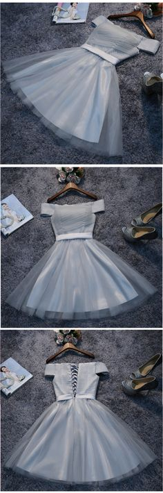 A-line Off-the-shoulder Short Mini Tulle Short Prom Dress Homecoming Dresses