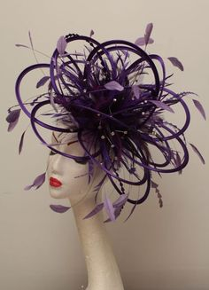 OK someone I know HAS to get married. or have a tea. or a sleep over. so I can order this! in lime green? (Large Cadbury Purple Rhinestone Diamante Feather Fascinator Hat -via Etsy)