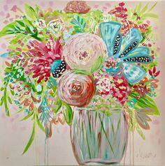 Original painting fine art floral painting EXTRA large 48 x 48 painting colorful floral art abstract floral canvas art FREE SHIPPING