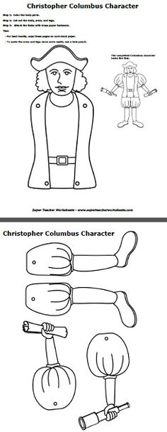 Looking for a fun activity for Columbus Day? Make a Christopher Columbus with arms and legs that move!  Cut out the body, arms, and legs, and attach with paper fasteners!