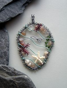 Rockpool+wire+wrapped+and+beaded+pendant+by+LouiseGoodchild,+£28.00