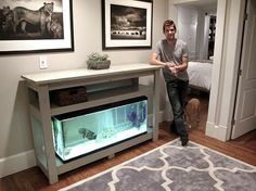 diy aquarium furniture stands are an integral part of every aquatic system. The aquarium stand should be sturdy so that it can bear the weight of a filled a Diy Home Bar, Bars For Home, 75 Gallon Aquarium Stand, Fish Tank Stand, Bar Console, Home Aquarium, Paludarium, Build Your Own Bar, Furniture Plans