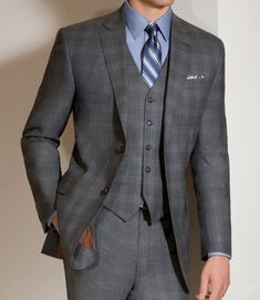New style 1920s mens suit:  Joseph 2 Button Wool Vested Suit with Plain Front Trousers