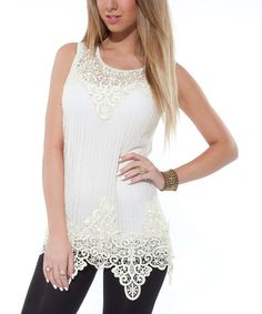 Take a look at this White Sheer Crocheted Sleeveless Top by Lily on #zulily today!