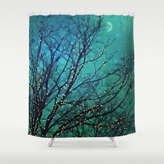 """Aqua Shower Curtain """"Magical Night"""" clouds,lights,stars,sky, night, trees,turquoise,blue, teal, bathroom, home decor,twinkle,nature on Etsy, $64.99"""