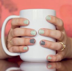 Mint Green Chevron Jamberry nail wraps. Made for graphic lovers everywhere, this fun and bold collection features a wide array of striking patterns, prints and vivid colors. Lasts up to 2 weeks on fingernails and 4 weeks on toenails. Get your set here: karaodell.jamberrynails.net