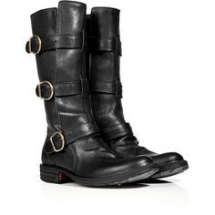 FIORENTINI & BAKER Black Buckled Leather Boots (€495) ❤ liked on Polyvore featuring shoes, boots, botas, sapatos, black, black ankle strap shoes, leather shoes, leather boots, thick heel boots and black round toe boots