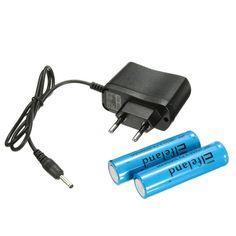 4.2V 3.5mm EU Plug Charger + Elfeland 2 x 3000mah 3.7V 18650 Battery
