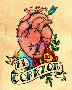 Anatomical Heart Tattoo Art EL CORAZON Loteria Print 5 x 7. via Etsy.