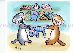 "Art by Shelly Mundel.  Ferret People ""Monkey Wars"" 8x10 inch Canvas Cloth! #OutsiderArt"