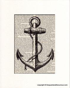 Anchor Art Print - Nautical Decor - Picture Gift Present Home Office Decor… Nautical Office, Nautical Home, Nautical Kitchen, Houseboat Decor, Anchor Pictures, Anchor Art, Presentation, Picture Gifts, Pallet Art