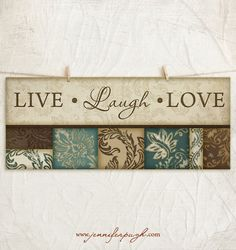 Live Laugh Love 8x18 Art Print -Inspirational Wall Decor -Family Values -Decorative Leaf Border -Teal, Tan, Brown on Etsy, $10.00