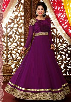 $67.92 Purple Satin Chiffon Floor Length Anarkali Suit 57162