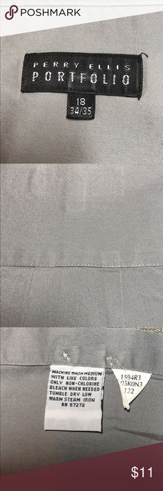 Perry Ellis Portfolio XXL Gray Dress Shirt Perry Ellis Portfolio XXL Gray Dress Shirt 1 Front Pocket Tailored 18 34/35 See Tag for Cleaning Instructions Excellent Condition Beautiful Gray Sale016 See the Great Men's Clothing Sale for Terms and Conditions of Sale Perry Ellis Shirts Dress Shirts
