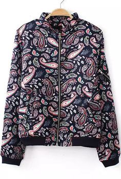 Navy Long Sleeve Cashews Print Jacket - Sheinside.com