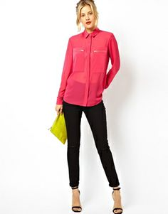 Image 4 of ASOS Shirt with Sheer and Solid Panels and Zip Detail