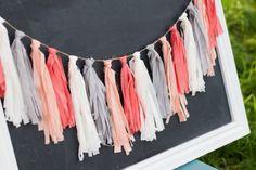 Peach and Coral Fabric Tassel Garland-Tassel by WithLoveKenzieAnn