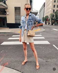 Got a lot of questions about my outfit from yesterday! This denim jacket is on sale for under $40 and my linen shorts are SO comfortable! 🖤…