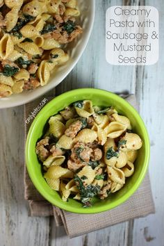 Creamy Pasta with Sausage and Mustard Seeds - elegant and delicious for just 277 calories or 8 Weight Watchers points per serving! www.emilybites.com