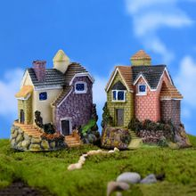 Fairy Garden Home Houses Decoration Mini Craft Micro Landscaping Russian Style Villa Fairy Tale Micro World Accessories Mini Fairy Garden, Fairy Garden Houses, Bonsai, Style Villa, Metal Garden Ornaments, Thatched House, Garden Decor Items, Village Houses, House Roof