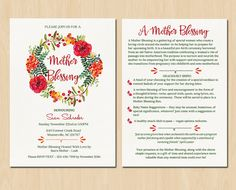 The back of a mother blessingblessingway invitation Baby Shower