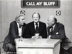 Call My Bluff - it was the Frank Muir and Patrick Campbell as captains, with Robert Robinson, I remember fondly. Charming TV with intellectual teasing and banter, Susie Dent, Morning Cartoon, Uk Tv, The Lone Ranger, Television Program, Kids Tv, Old Tv Shows, Vintage Tv, My Childhood Memories