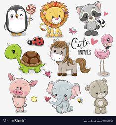 Set of Cartoon Animals on white background. Set of Cute Cartoon Animals on a white background royalty free illustration Cartoon Baby Animals, Baby Animal Drawings, Cartoon Drawings Of Animals, Cute Baby Animals, Cartoon Art, Baby Cartoon Drawing, Drawing Cartoons, Cartoon Characters, Cartoon Mignon
