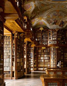 "The Library of Monastery of Saint Florian in Austria. The ceiling fresco by Bartolomeo Altomonte depicts the marriage union of Virtue and Wisdom. From ""The Library: A World History"" by James W. Campbell with photographs by Will Pryce. Beautiful Library, Dream Library, Book Aesthetic, Aesthetic Pictures, Old Libraries, Bookstores, Beautiful Architecture, Interior Architecture, Light In The Dark"