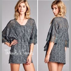 🆕Lazer Cut Tunic Top Pastel Stunning grey laser cut lace top. Featuring drawstring waistline, 3/4 length sleeves and crochet lace detail trim sleeves. Size M/L Threads & Trends Tops
