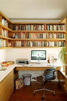 Small office - wall-mounted shelves make a huge space difference.