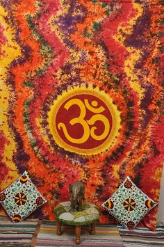Indian God Om Tapestries Bohemian Tapestry Bed by Ayatcreation, $23.99