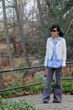 Grey flared corduroys + menswear button up + leather jacket. Perfect for fall.