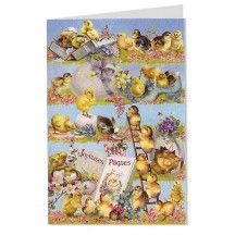 Blue Joyeuses Paques Chicks and Flowers Card ~ Germany