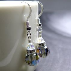 Charcoal Gray Crystal Earrings Black Diamond by fineheart on Etsy