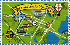 Mock up of cartoon ad map of Egg Harbor Township, NJ. This is a dynamic map that will evolve as we add businesses, landmarks, buildings, ads etc. Egg Harbor Township, Garden S, Atlantic Ocean, Clash Of Clans, Baseball Field, Cars For Sale, Maps, This Is Us, Buildings