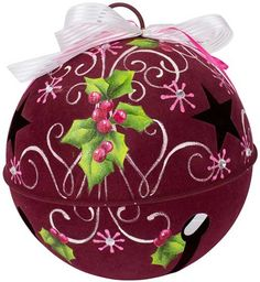 This cheerful painted jingle bell is a fun addition to any Christmas décor, and makes a charming door decoration when hung on a doorknob.