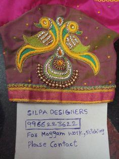 Peacock Blouse Designs, Pattu Saree Blouse Designs, Simple Blouse Designs, Bridal Blouse Designs, Peacock Design, Zardosi Embroidery, Embroidery Works, Crewel Embroidery, Hand Embroidery Design Patterns