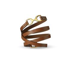 "Dandy Pavane Hermes leather bracelet (size M) Natural tadelakt calfskin  Gold plated hardware, 2.25"" diameter."