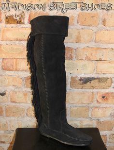 Minnetonka Over The Knee Fringe Boot in Black