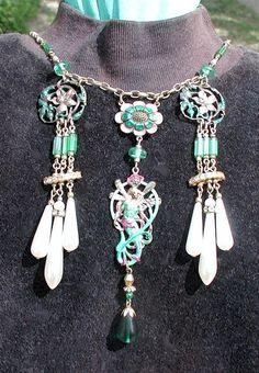 Exquisite Art Noveau Fairy Drop Necklace by ThePurpleHouse on Etsy, $125.00