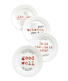 Grammar Plates: Lie versus lay. Good versus well. A set of four cheeky ceramic plates that are true conversation starters.