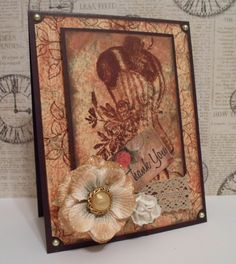 """Thank You Victorian card using the Victorian Distressed technique. Supplies used:    - GKD brown card stock,  - GKD stamps from the """"All Occasion Tag"""" and """"Whimsical Spring"""" stamp sets,  - Tim Holtz Distress inks in """"Tea Dye"""", """"Vintage Photo"""" and """"Broken China"""",  - Flowers by Prima Flowers,  - Tag by My Mind's Eye """"Flower Your Heart"""" collection, and  - Pearl adhesive gems from Teresa Collins """"Everyday Moments"""" collection."""