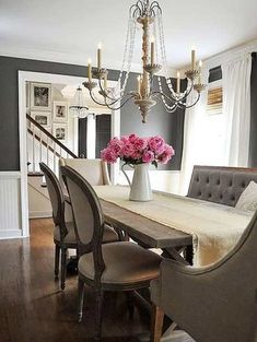 source: Dear Lillie website French country dining room features a wood beaded chandelier illuminating a reclaimed wood dining table lined with a HomeGoods bench and linen dining chairs from World Market. Dining Room Paint Colors, Dining Room Walls, Dining Room Design, Living Room Decor, Wall Colors, Dining Chairs, Dining Table, Dark Grey Dining Room, Design Room