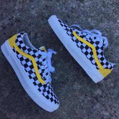 72136f36239 Vans Custom Yellow Lemon Checkered Old Schools - limetliss Yellow Vans