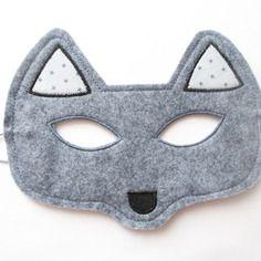 Masque loup en feutrine de laine gris