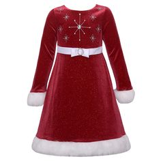 Christmas just isn't complete without Santa dress around! Your little girl will spread a lot of joy this year wearing Miss Santa Claus fancy dress. Decked with sparkly snowflakes on the bodice, this glittery velvet dress features a waistband with bow and