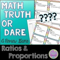 Ratios and proportions truth or dare review game print copy cut